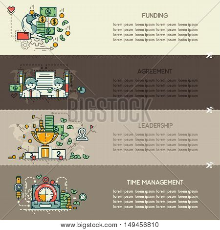 Set twenty nine of business banners: funding, agreement, leadership, time management