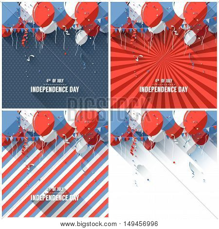 Vector set of flat style Independence day backgrounds with balloons and confetti
