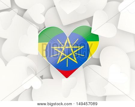 Flag Of Ethiopia, Heart Shaped Stickers
