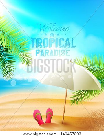 Seaside view on beautiful sunny beach with palm leaves and parasol - vector background