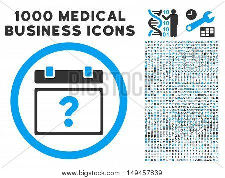 Unknown Date icon with 1000 medical business gray and blue vector pictographs. Set style is flat bicolor symbols, white background.