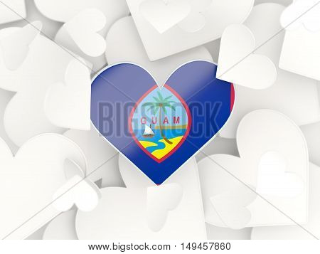 Flag Of Guam, Heart Shaped Stickers