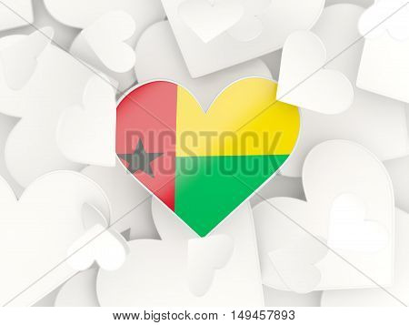 Flag Of Guinea Bissau, Heart Shaped Stickers