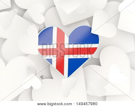 Flag Of Iceland, Heart Shaped Stickers