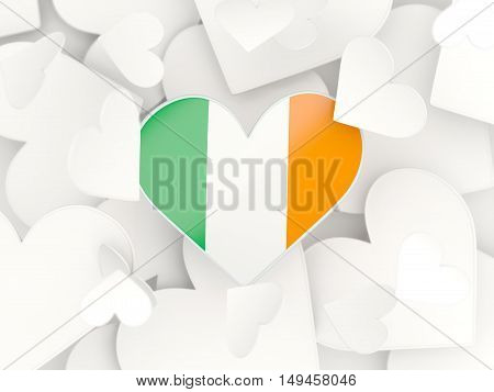 Flag Of Ireland, Heart Shaped Stickers