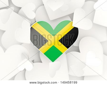 Flag Of Jamaica, Heart Shaped Stickers