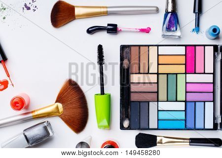 Set for make-up on pure background