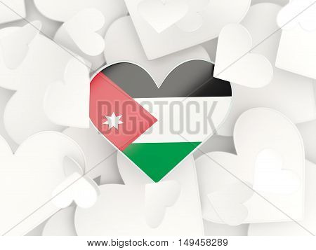 Flag Of Jordan, Heart Shaped Stickers