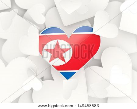 Flag Of Korea North, Heart Shaped Stickers