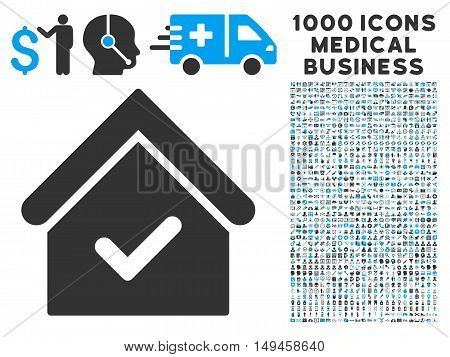Valid House icon with 1000 medical commercial gray and blue vector pictographs. Collection style is flat bicolor symbols, white background.
