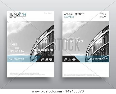 White annual report cover, brochure design. Leaflet layout. Presentation template in A4 size.