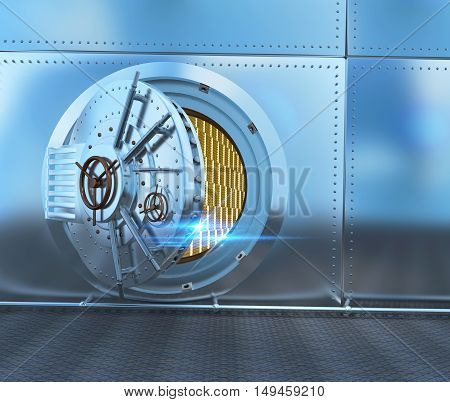 The metal door of the safe the gold in the safe. 3D illustration