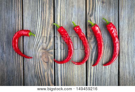Red hot chili peppers on wood background.