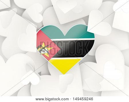 Flag Of Mozambique, Heart Shaped Stickers