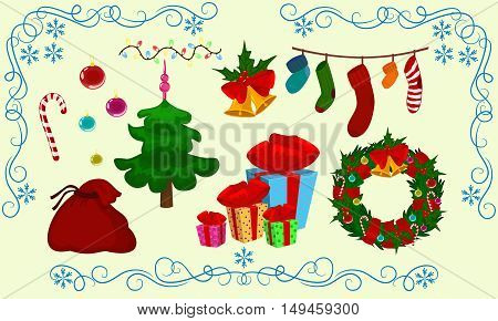 Christmas vector symbol set icon design. Winter illustration isolated