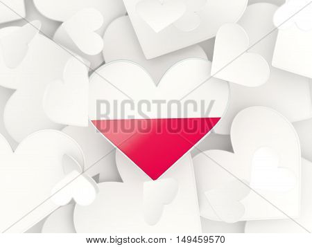 Flag Of Poland, Heart Shaped Stickers