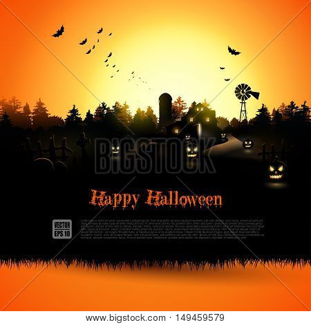 Haunted farmhouse in the woods - Halloween greeting card