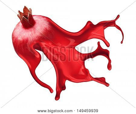 red pomegranate with pait splash isolated on white background