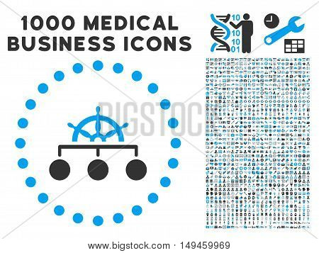 Rule icon with 1000 medical business gray and blue vector pictographs. Collection style is flat bicolor symbols white background.