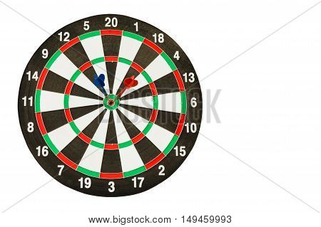 dartboard with red and blue darts isolated on white background with clipping path