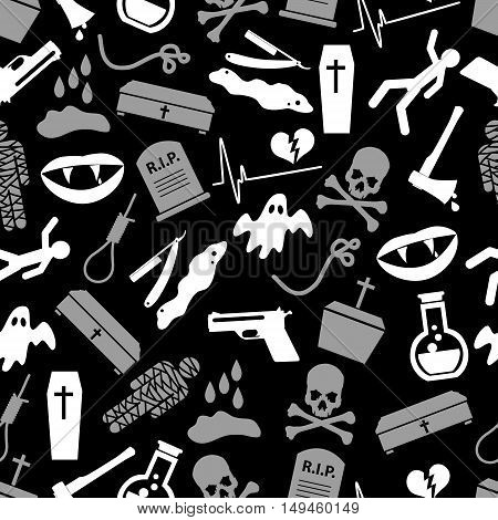 Death Theme Set Of Vector Icons Black And White Seamless Pattern Eps10