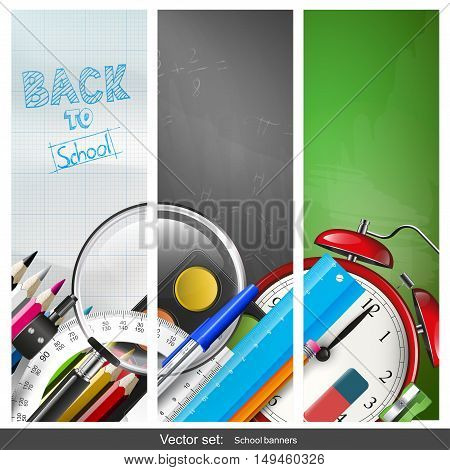Set of three vertical back to school banners with school supplies