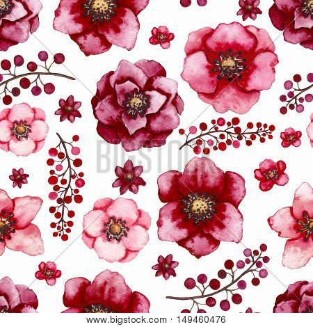 Seamless Floral Pattern with Watercolor Burgundy and Red Flowers and Little Berries