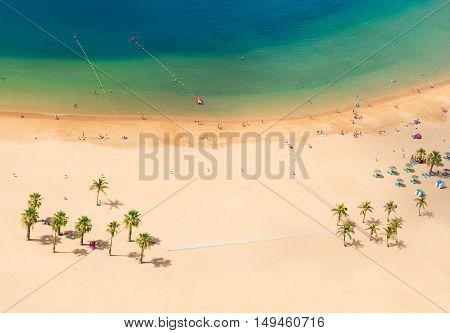 aerial top view of Las Teresitas beach with clear water, Tenerife