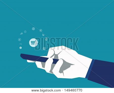 Mobile Payments. Man Holding Phone. Vector Illustration Of Modern Smartphone With Processing Of Mobi