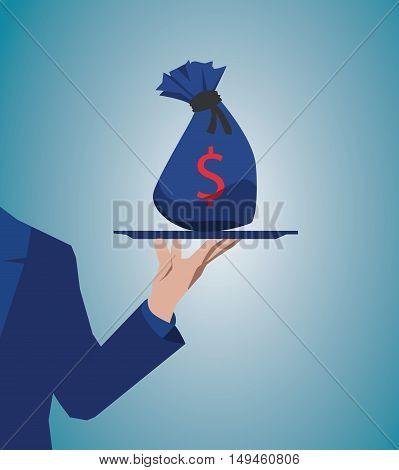 Flat Design Style Modern Vector Illustration Concept Of Businessman Offering A Money On The Serve Pl