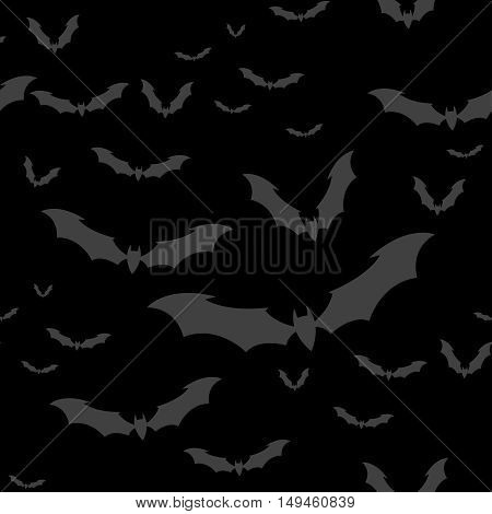 Seamless pattern flock of bats on a Dark background. Illustration for your design for Halloween. Vector EPS10.