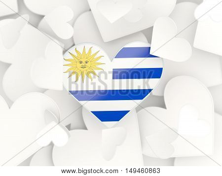 Flag Of Uruguay, Heart Shaped Stickers