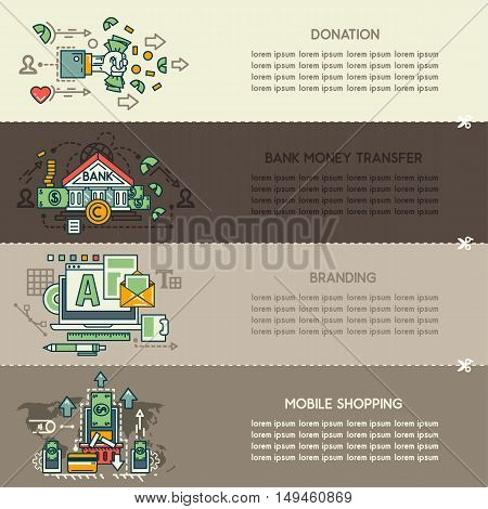 Set of four of business banners: donation, bank money transfer, branding, mobile shopping