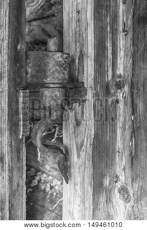 Vintage old rusty hinge on a wooden door