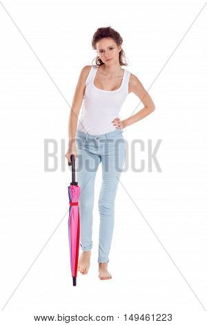 Pretty Girl Posing With Color Umbrella On White Background