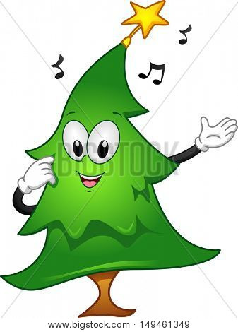 Mascot Illustration of a Christmas Tree with a Star on Top Singing a Christmas Carol