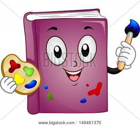 Mascot Illustration of a Purple Book Holding a Color Palette in One Hand and a Paintbrush in the Other