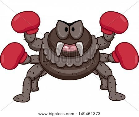 Mascot Illustration of an Angry Looking Spider with Gloves on Four of its Eight Legs