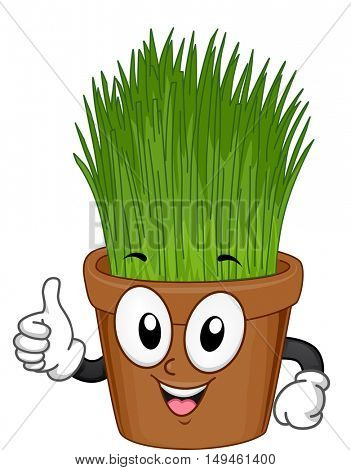 Indoor Plant Mascot Illustration of an Grass in a Pot Giving a Thumbs Up