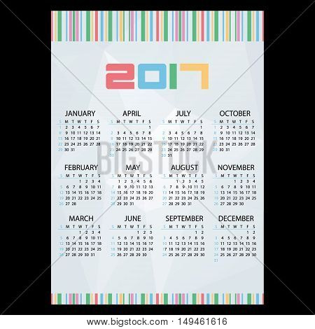 2017 Simple Business Wall Calendar Abstract Paper Backgrond And Bar Code Eps10