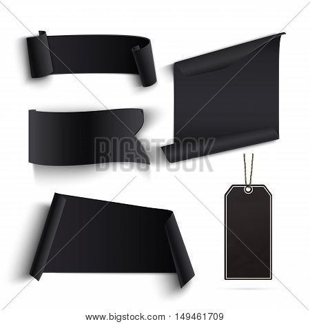 Set of blank black banners and price tags. Perfect for Black Friday and Cyber Monday posters, backgrounds, brochures or flyers  Vector illustration.