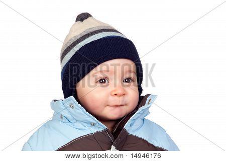 Schönes Baby mit Wollkappe