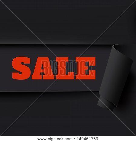 Sale, black torn paper background. Template for brochure, poster or flyer. Vector illustration.