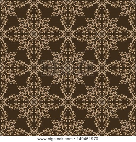 Elegant Seamless Pattern On A Brown Background