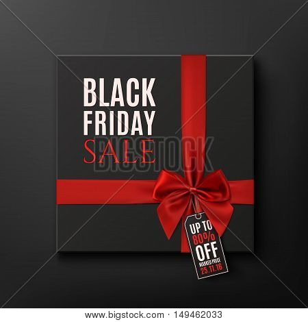 Black Friday Sale conceptual background. Black gift box with red ribbon. Vector illustration.