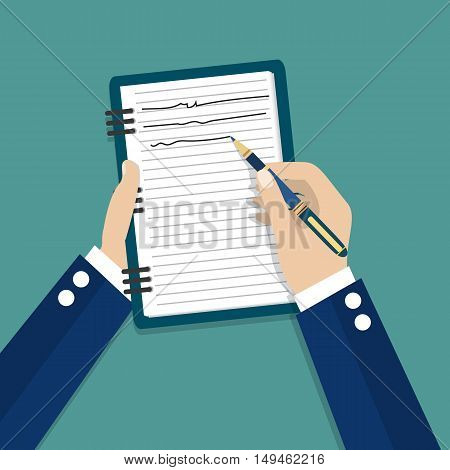 Hand holding notebook and pen. Concept of organize and planning. vector illustration in flat style on green background