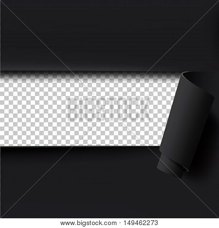 Black torn paper background with empty transparent space for text. Template for brochure, poster or flyer. Vector illustration.