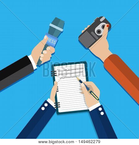 hands holding voice recorder, microphone and spiral notebook with pen. Mass media and press conference concept. journalism. vector illustration in flat style