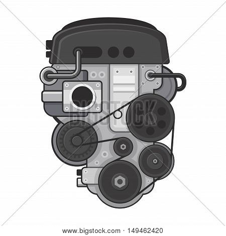 Car Engine Concept on White Background. Vector illustration