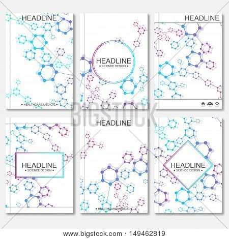 Modern vector templates for brochure, flyer, cover magazine or report in A4 size. Molecule structure and communication on the background..